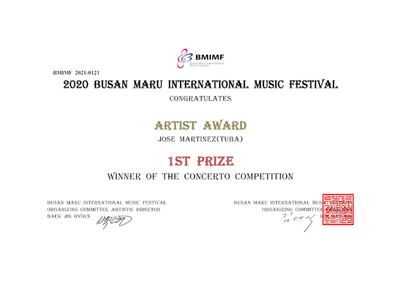 National Orchestra of Spain tubist in finals for Busan Maru Competition